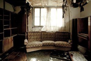 smoke damage livingroom